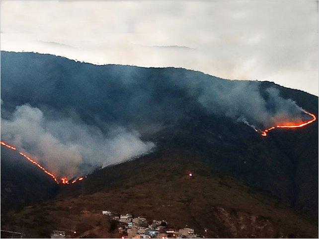 En Ecuador 200 efectivos combaten incendio forestal en Quito