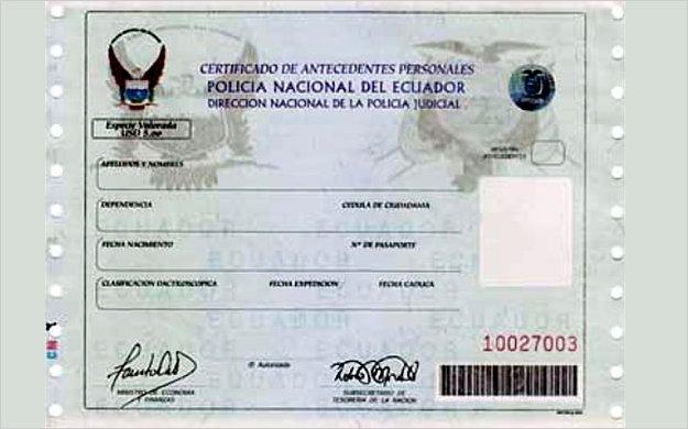 El r cord policial ecuatoriano ya se puede solicitar a for Legalizaciones ministerio del interior