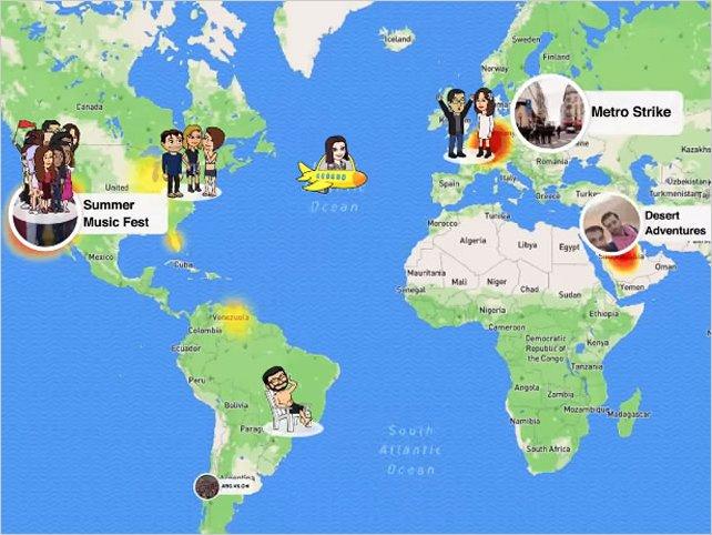 Snapchat lanza Snap Map para compartir ubicación física de amigos